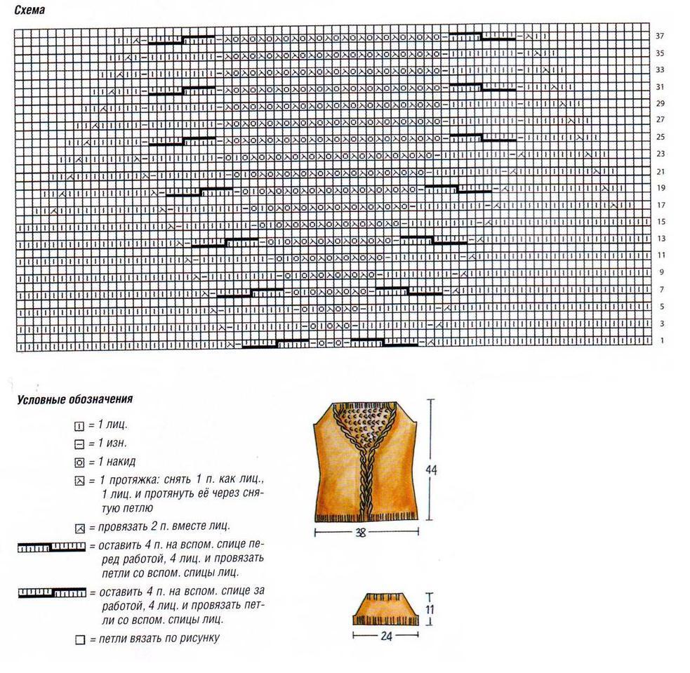 Оранжевый пуловер с короткими рукавами вязаный спицами схема и выкройка