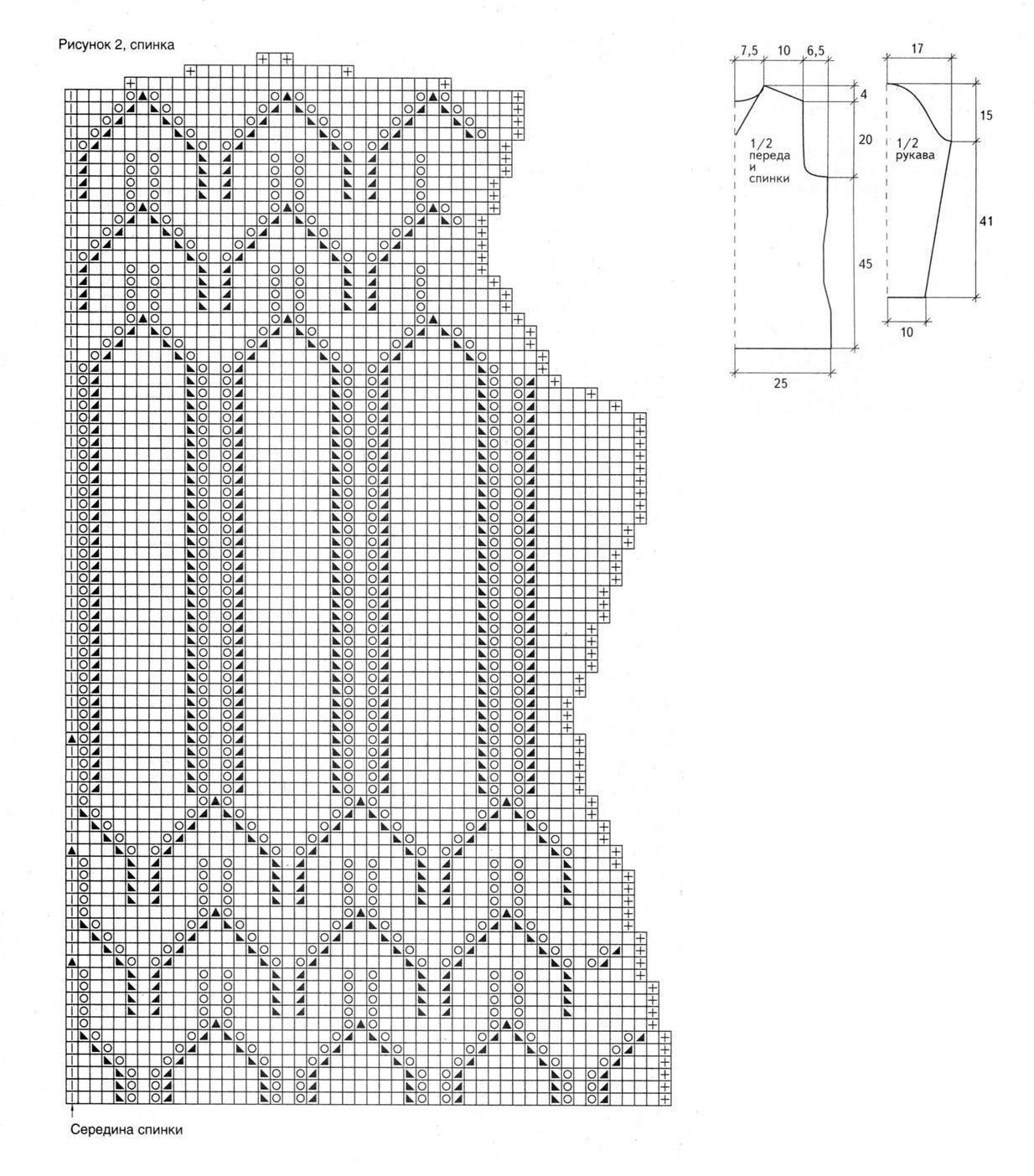 Голубая туника вязаная спицами схема часть 2