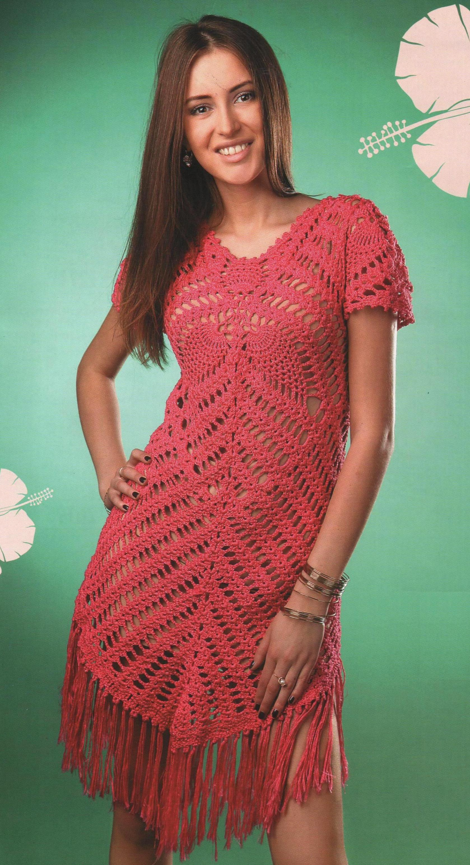 Ажурное платье с длинной бахромой вязаное крючком