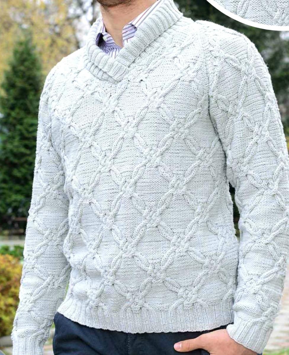 Мужской свитер вязаный спицами