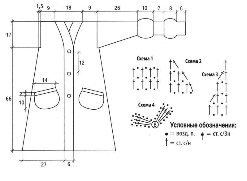 Удлиненный кардиган вязаный крючком схема и выкройка