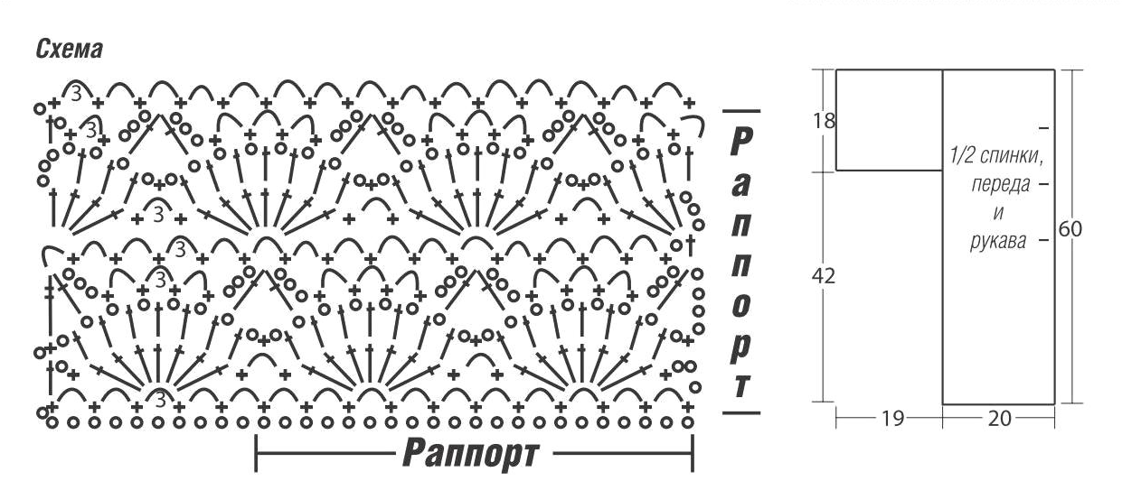 Ажурный жакет вязаный крючком схема