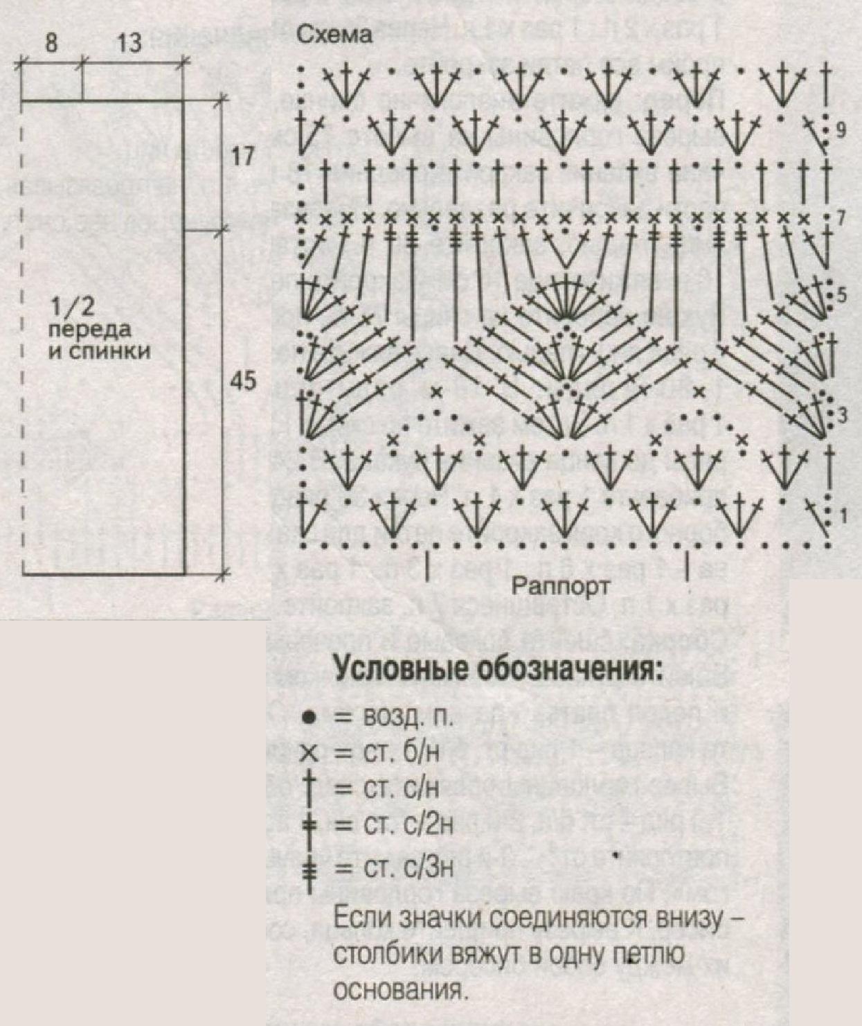 Меланжевый топ вязаный крючком схема