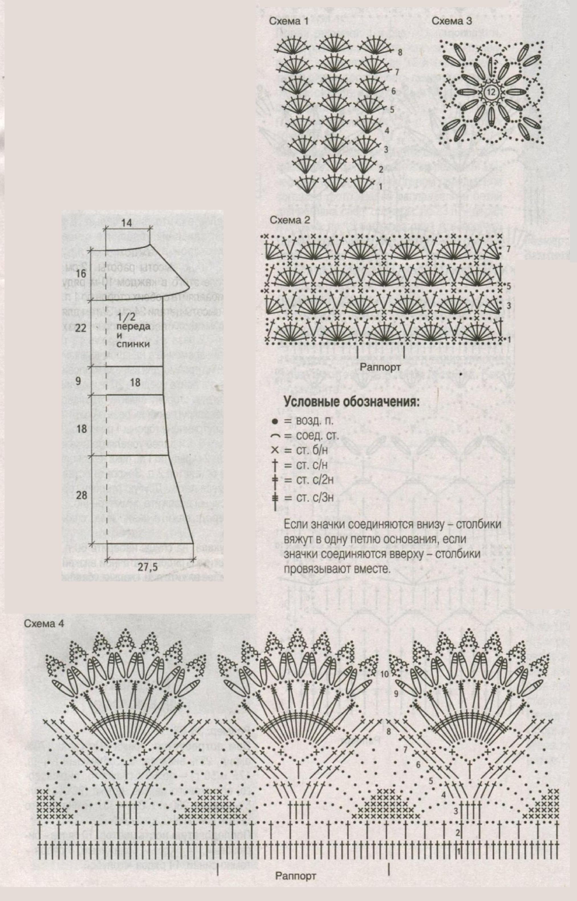 Персиковое платье вязаное крючком схема
