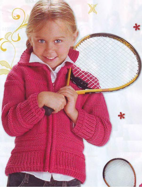 Вязаный спицами спортивный жакет на девочку
