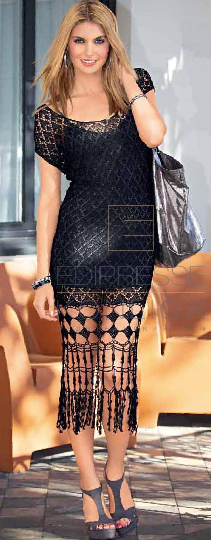 Чёрное платье вязаное крючком