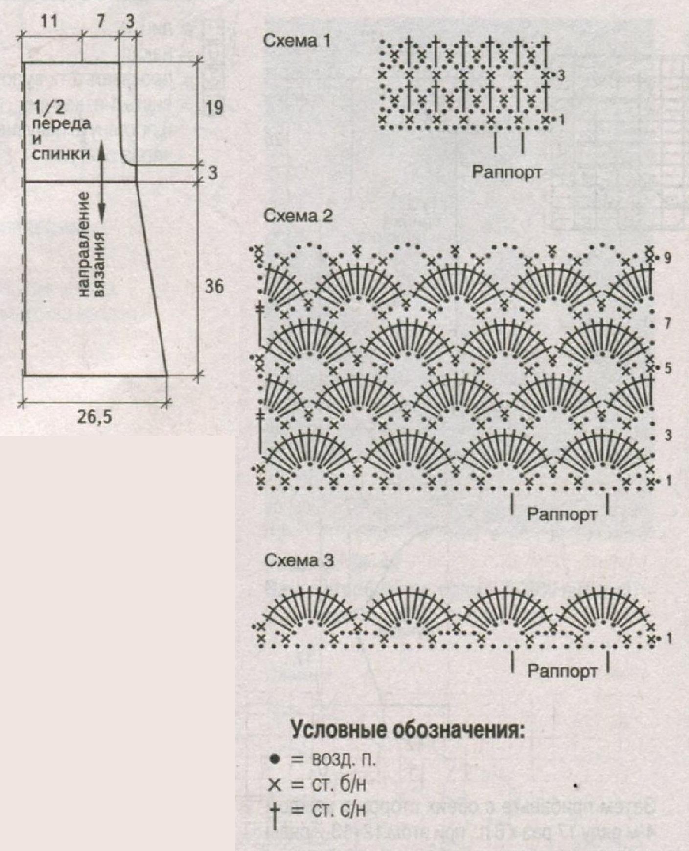 Жилет с узором ракушки вязаный крючком схема
