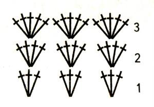 """Схема основного узора """"веерочками"""""""