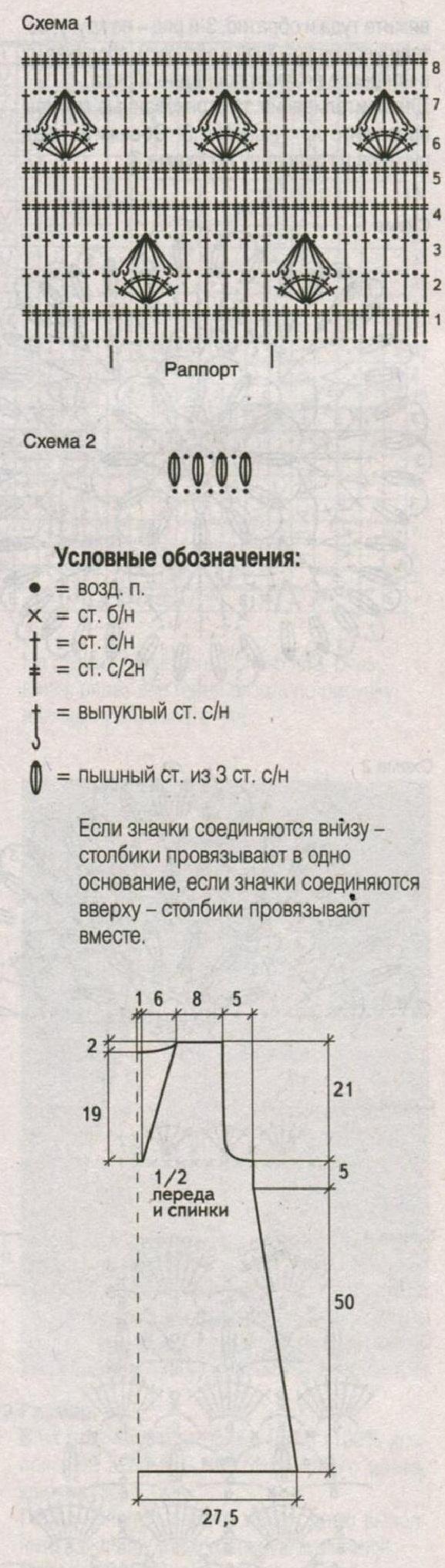 Бирюзовая туника вязаная крючком схема
