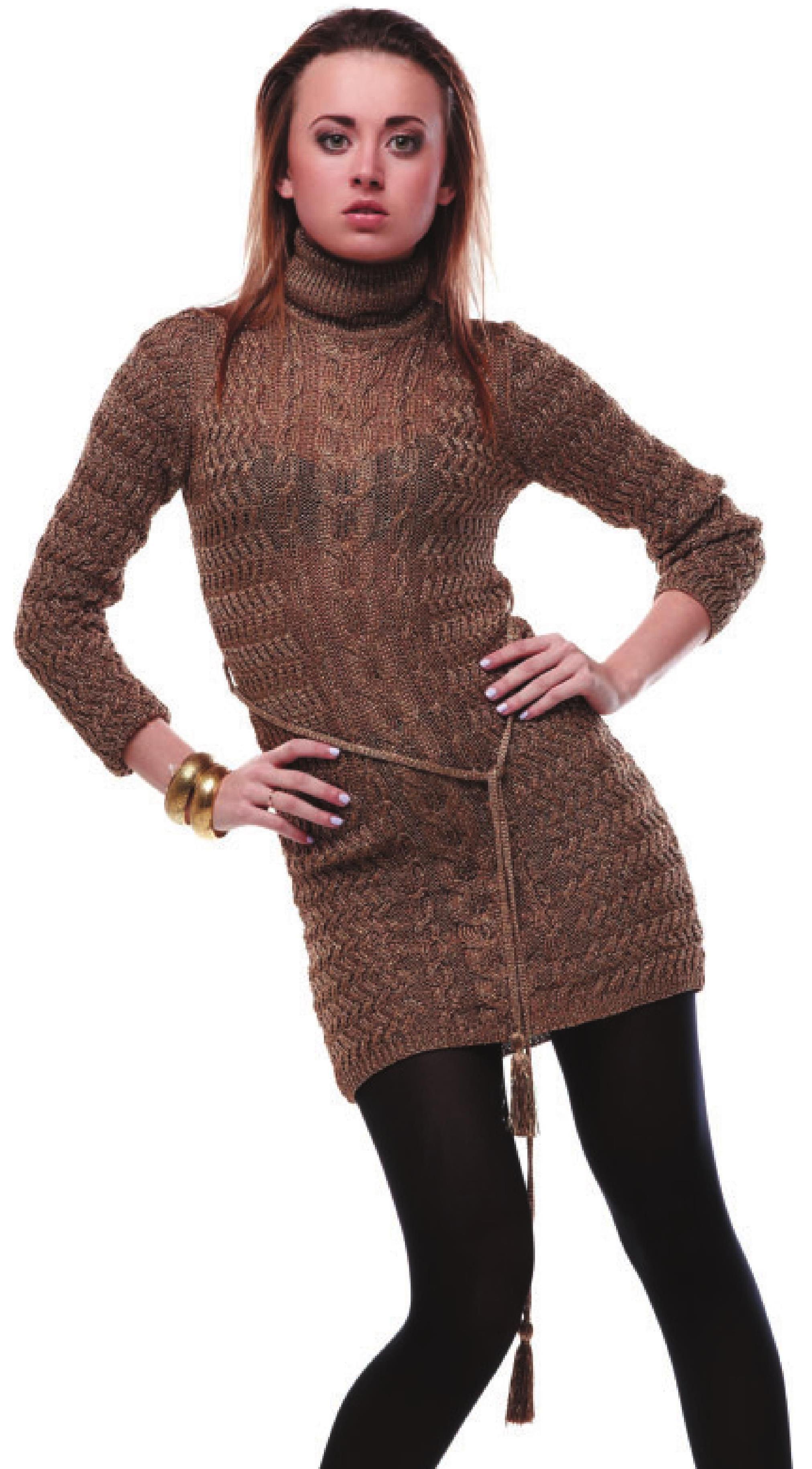 Мини-платье из пряжи с люрексом вязаное спицами