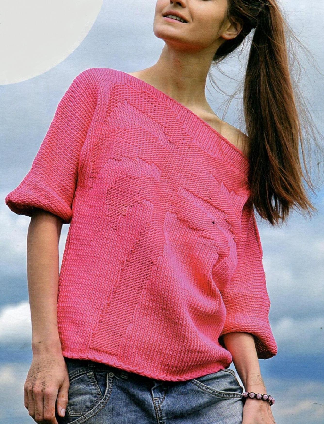 Пуловер с пальмой вязаный спицами