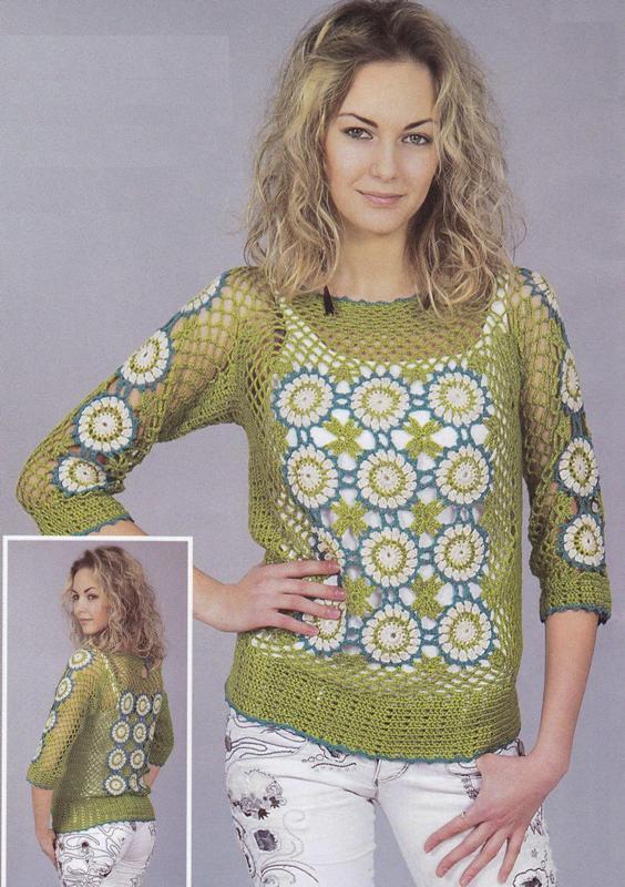 Вязаный крючком пуловер из цветочных фрагментов
