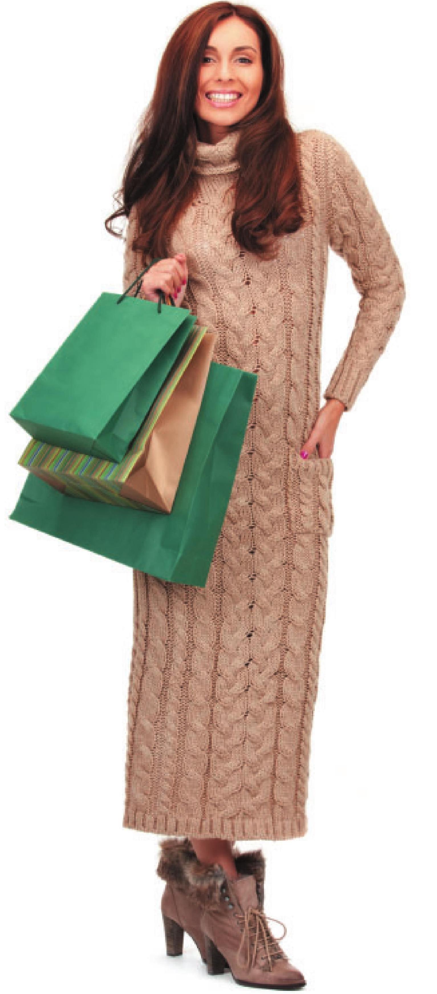 Длинное платье из пряжи с кашемиром