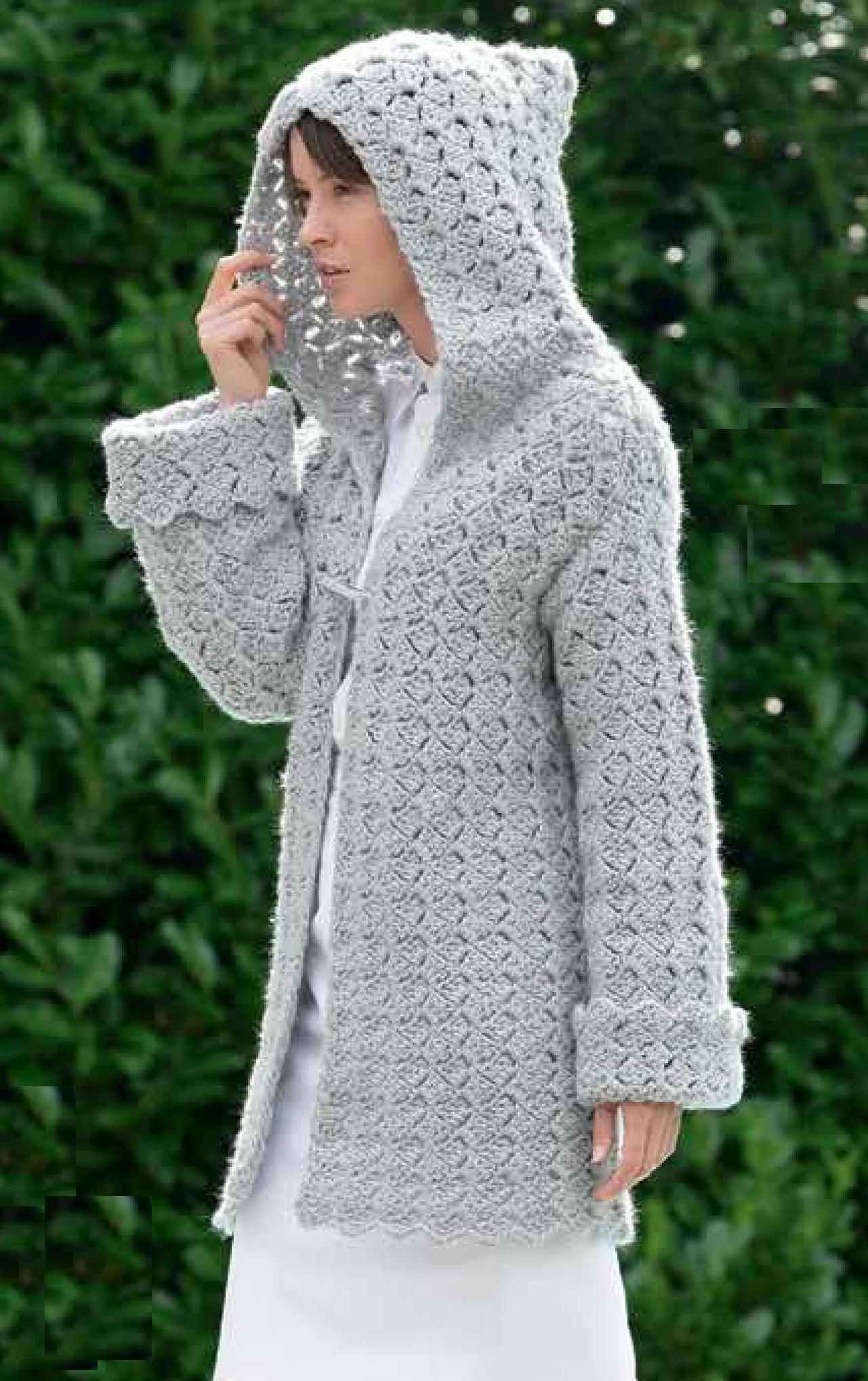 Ажурное пальто с капюшоном