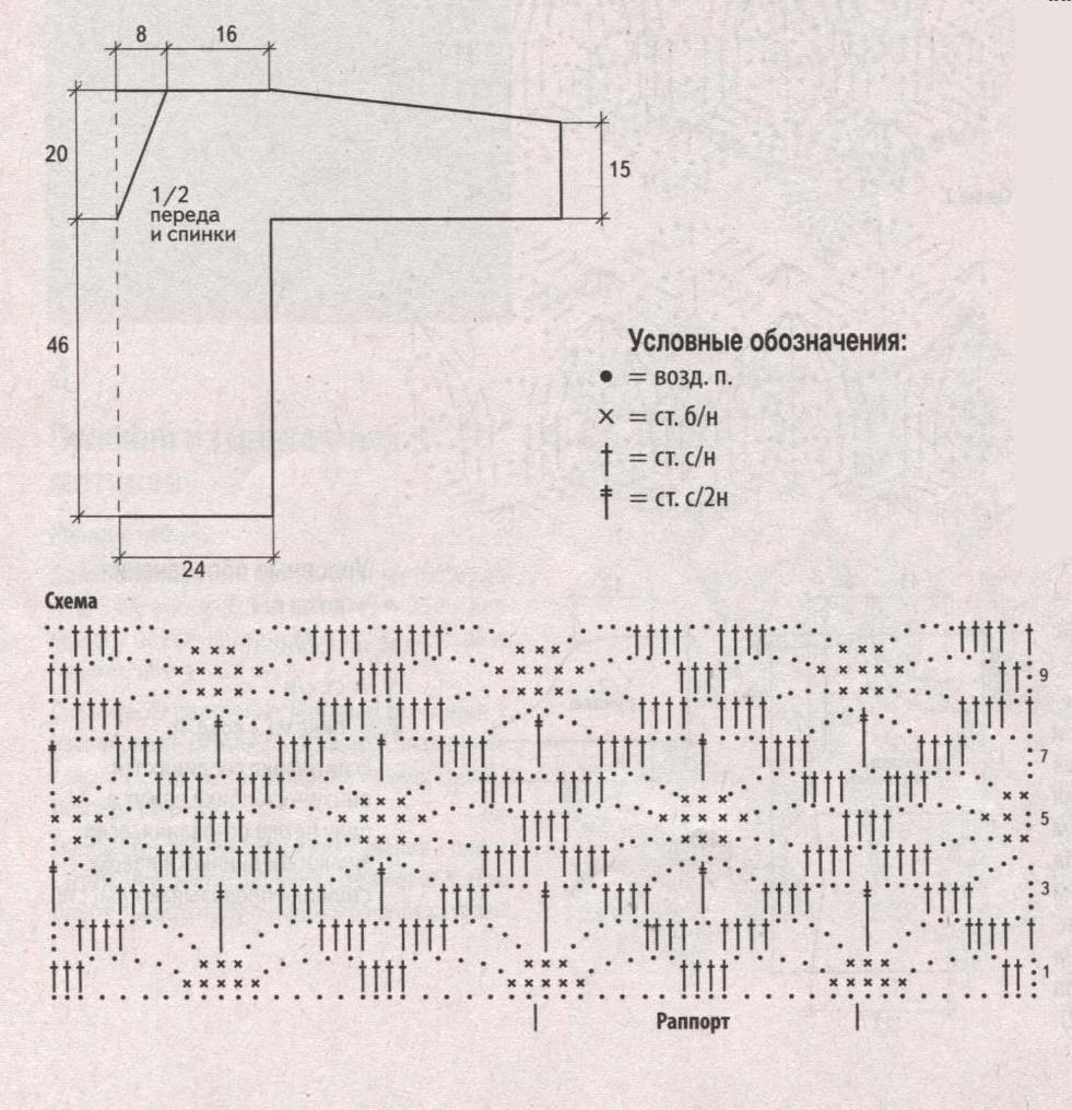 Ажурный пуловер вязаный крючком схема