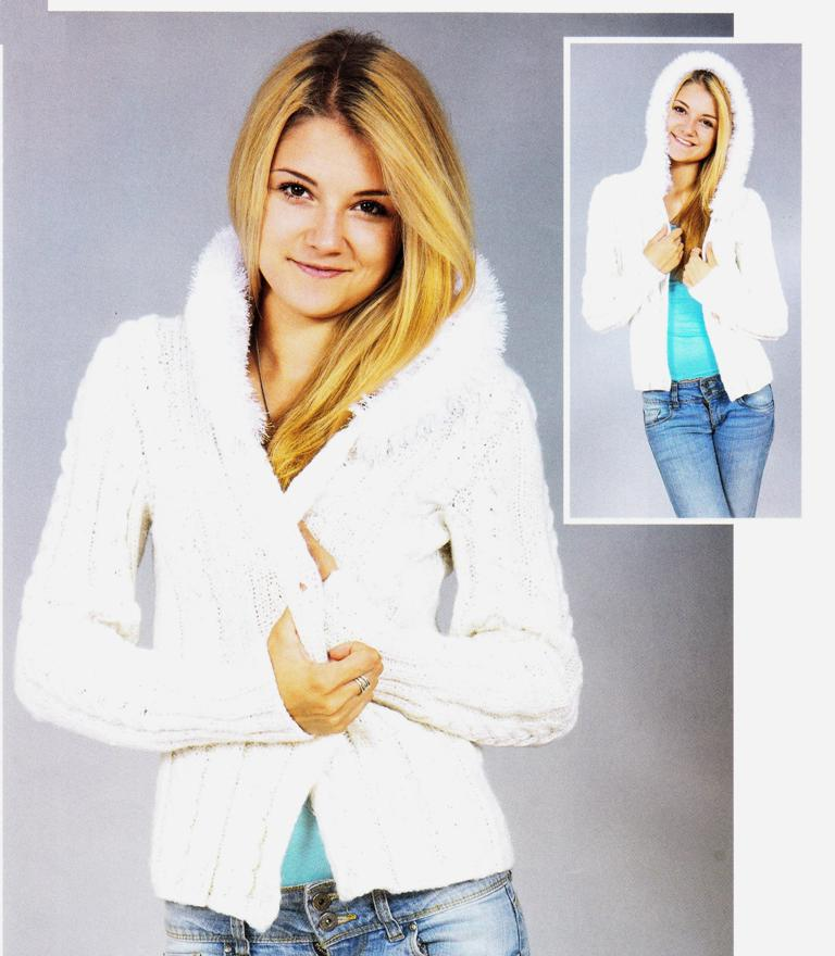 Белая куртка с пушистым капюшоном