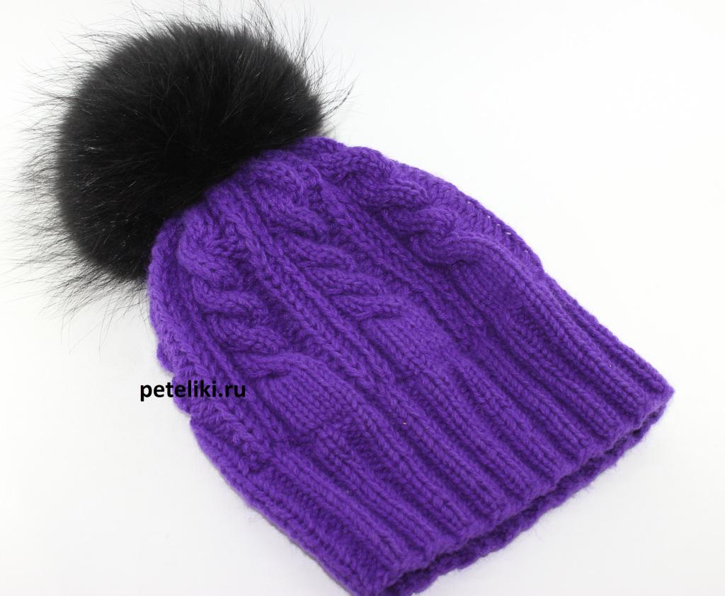 Вяжем шапку с помпоном спицы 159