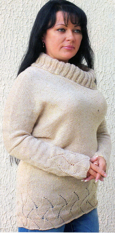 Кремовый пуловер вязаный спицами