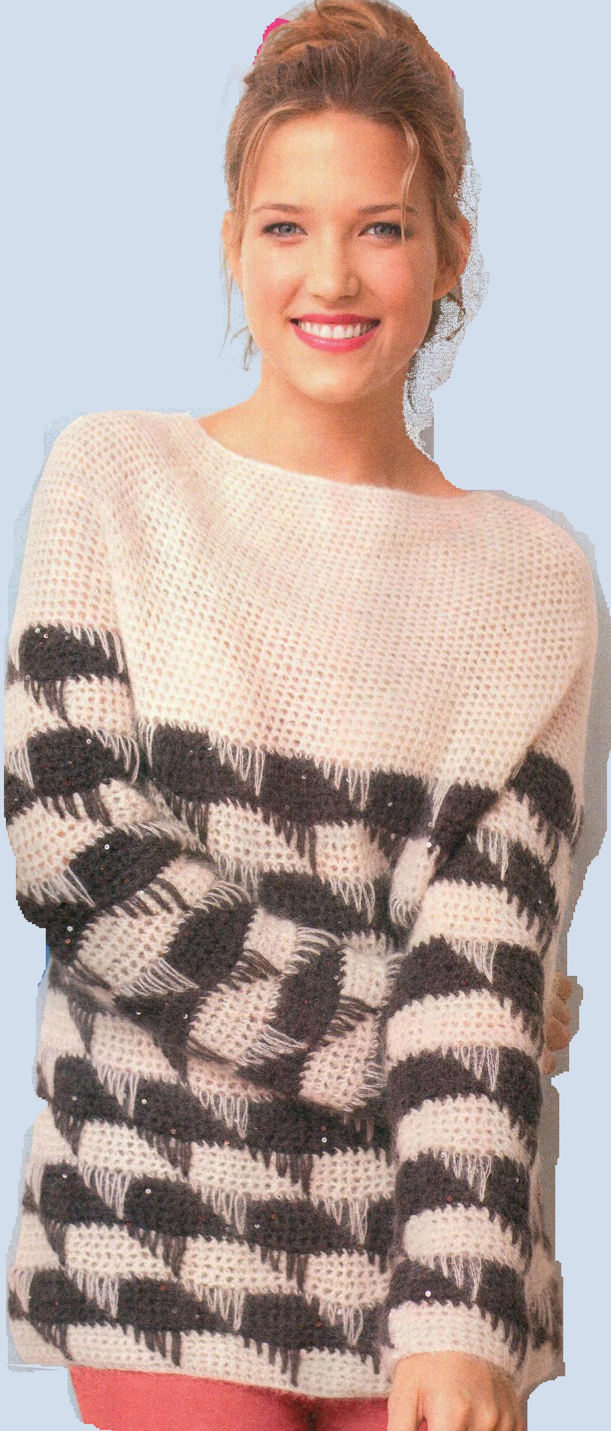 Черно-белый пуловер вязаный крючком