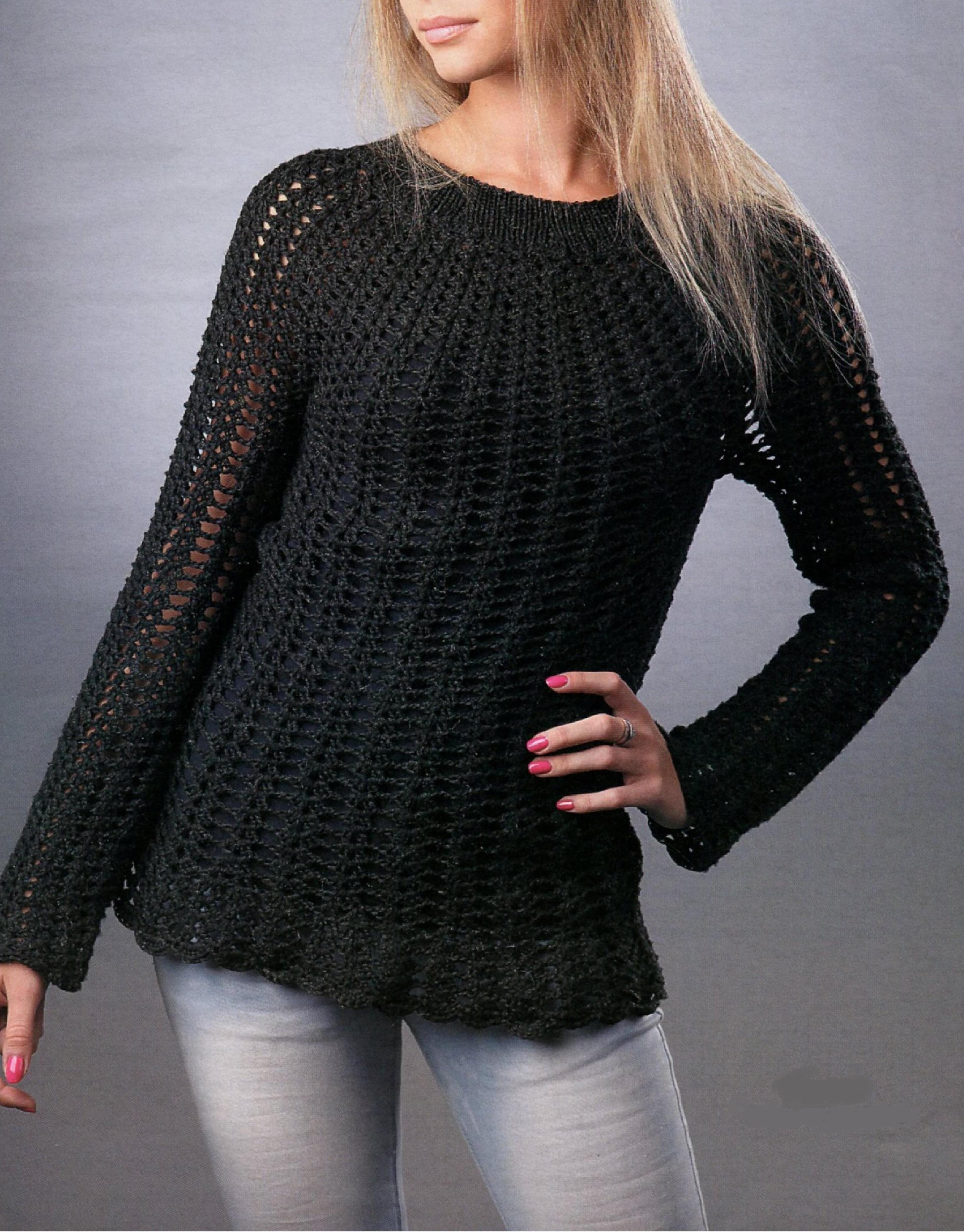 Чёрный ажурный пуловер спицами