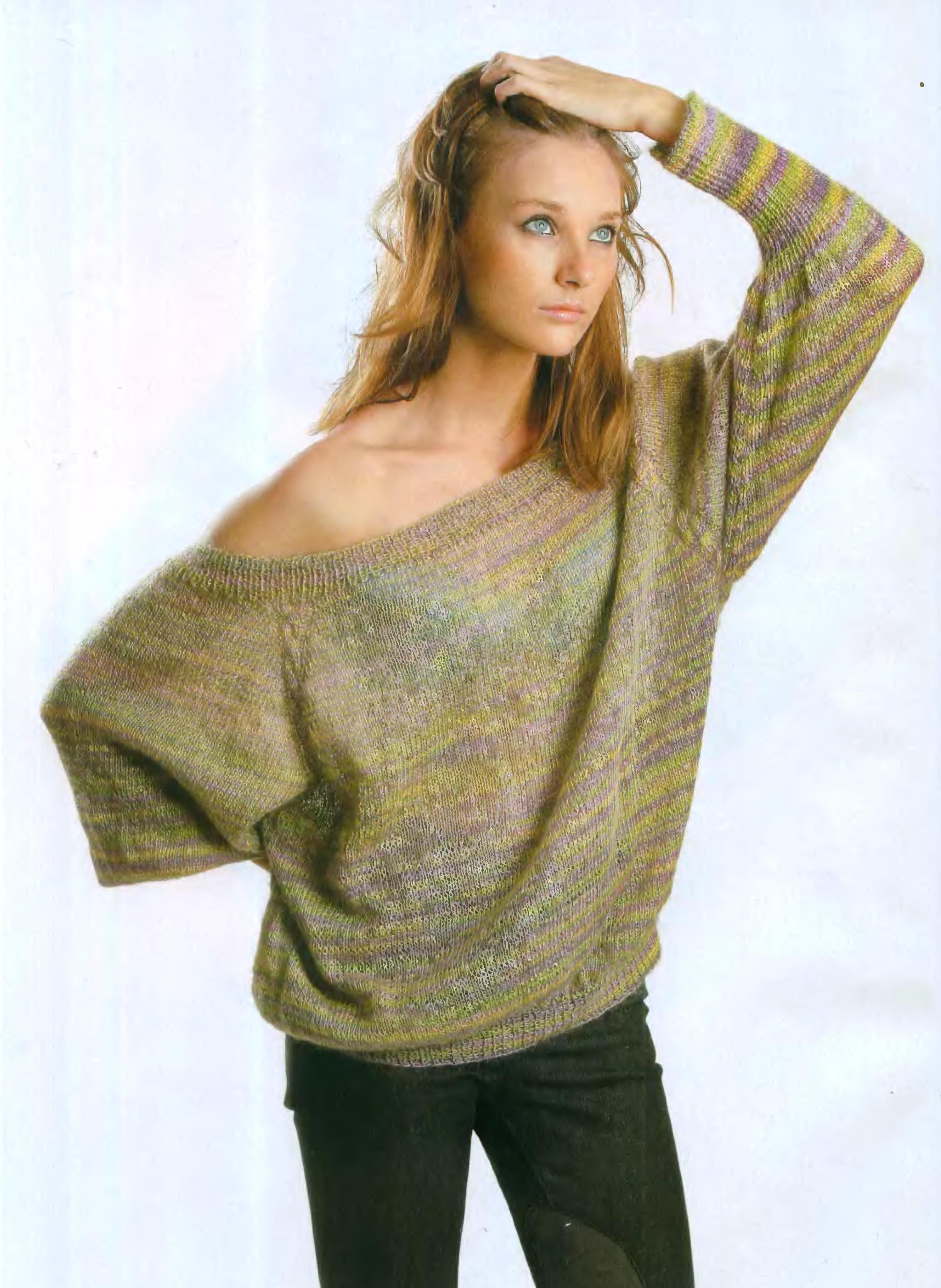 Меланжевый пуловер вязаный спицами