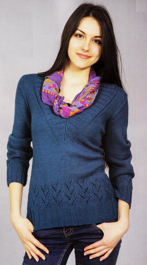 Пуловер джинсового цвета