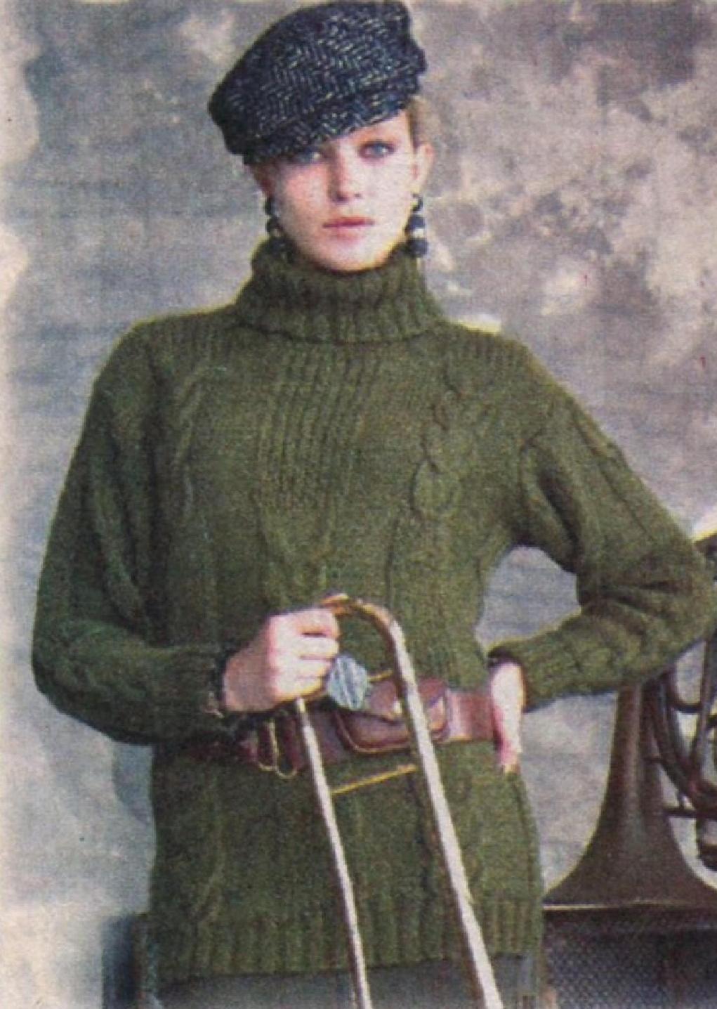 Теплый пуловер с фантазийным узором