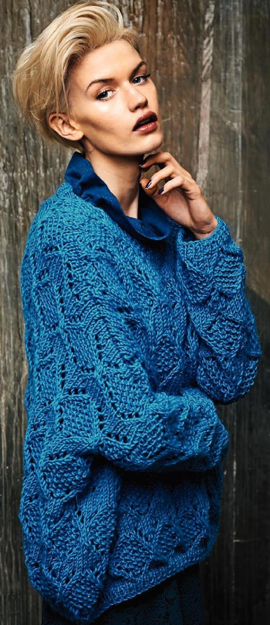 Объемный пуловер с рисунком из ромбов