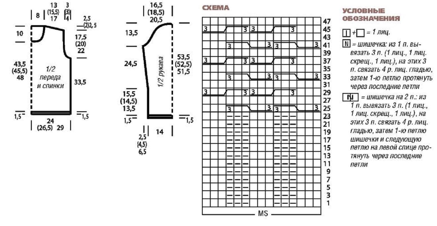 Выкройка и схема пуловера для стильного вязаного комплекта