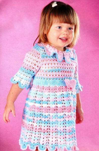 Вязание крючком кокетки платья сверху для девочки