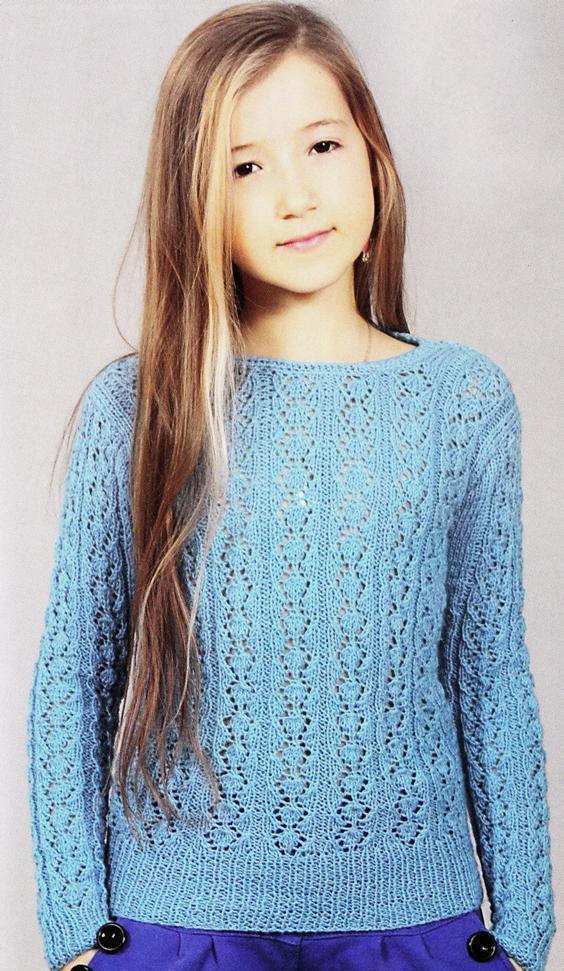 Бирюзовый свитер с ажурным узором на девочку