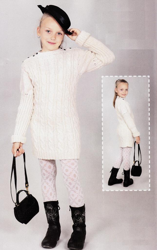 Платье из пряжи с люрексом для маленькой модницы