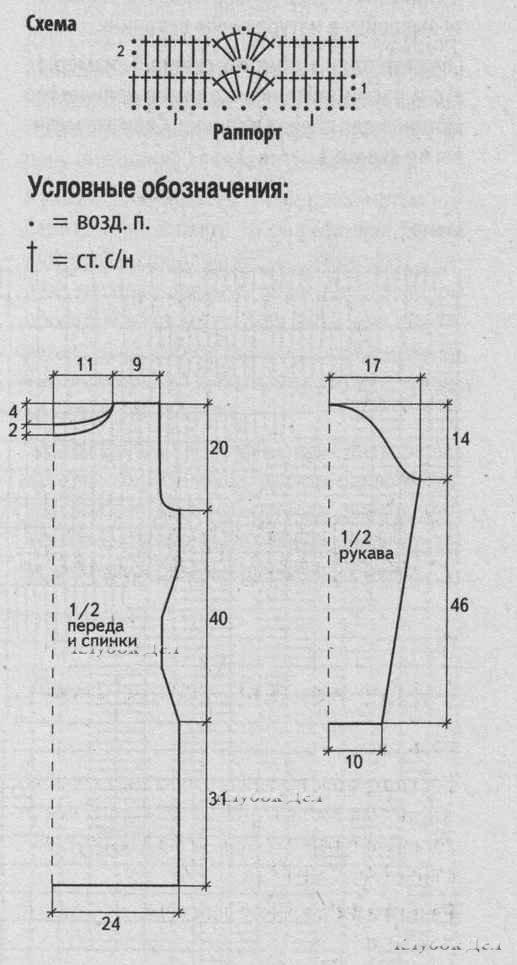 Схема вязания для платья с длинным рукавом 700
