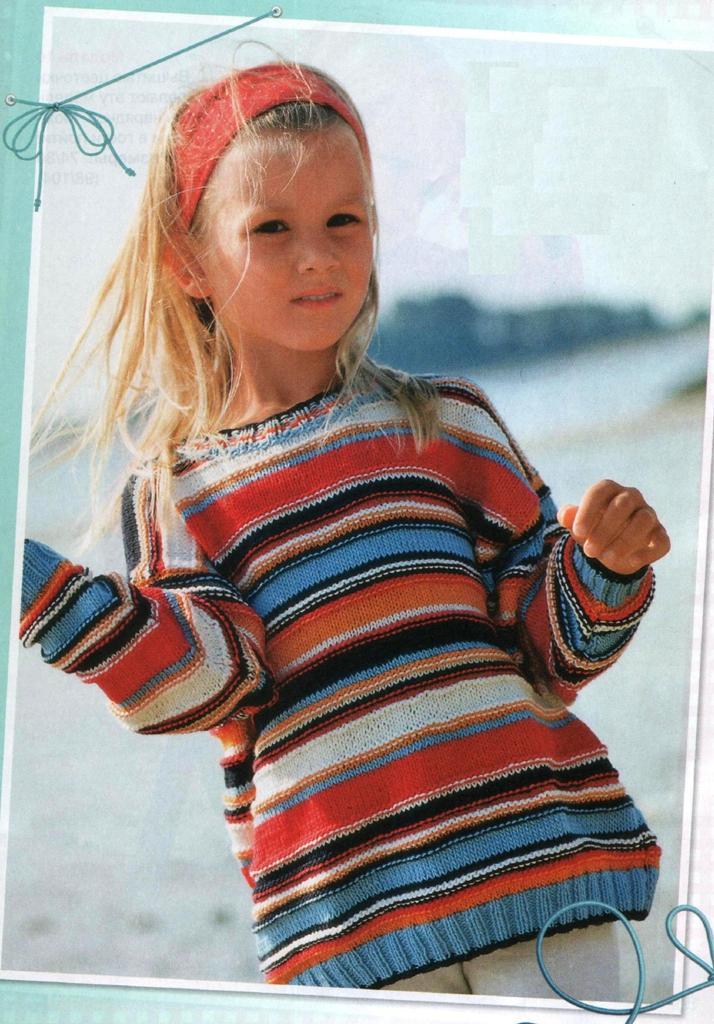 Детский пуловер в морском стиле