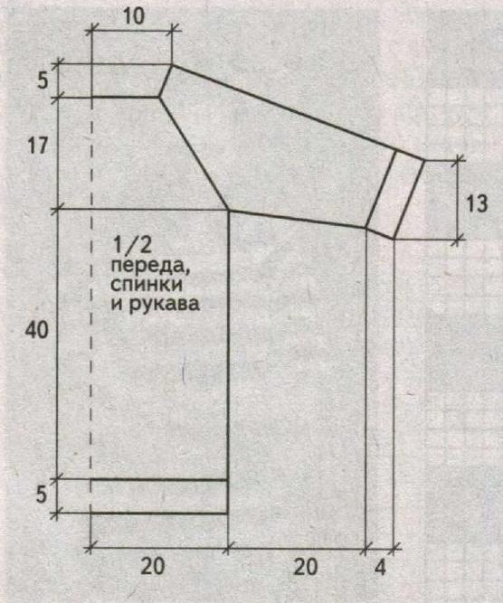 Пуловер реглан в полоску спицами выкройка