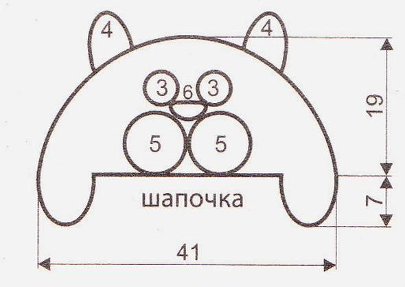 Шапка-ушанка с кошачьей мордочкой вязаная крючком выкройка