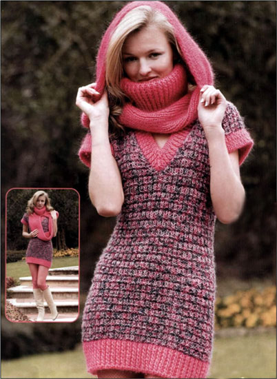 Мини-платье и шарф вязаные спицами