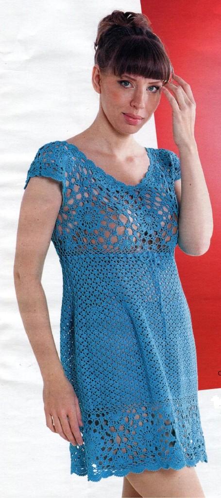 Бирюзовое ажурное платье крючком