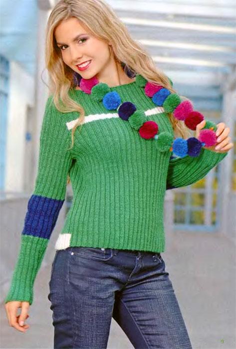 """Женский пуловер """"Цветомания"""" вязаный спицами"""