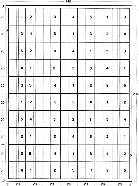 Схема последовательности вязания квадратов