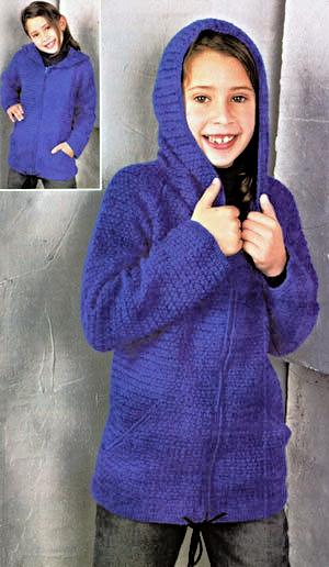 Удлиненная теплая кофта на девочку с капюшоном вязаная крючком