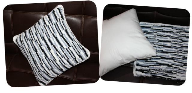 подушка из помпонной пряжи