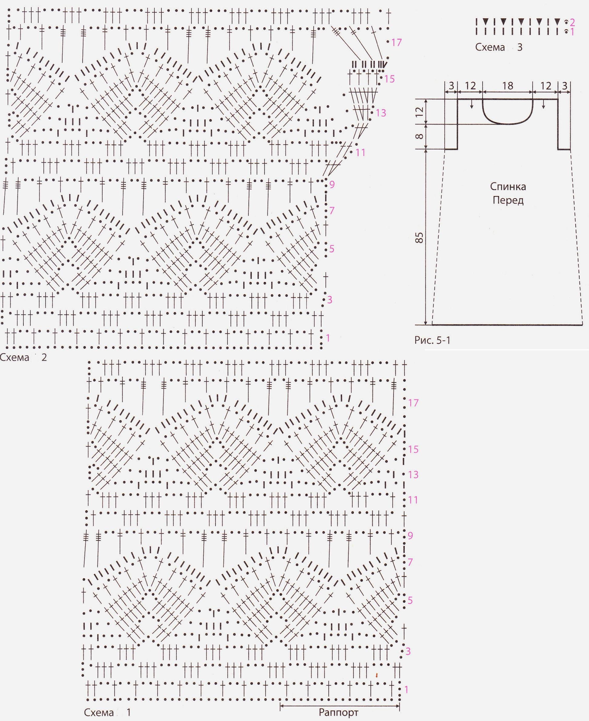 Ажурное платье вязаное крючком схема