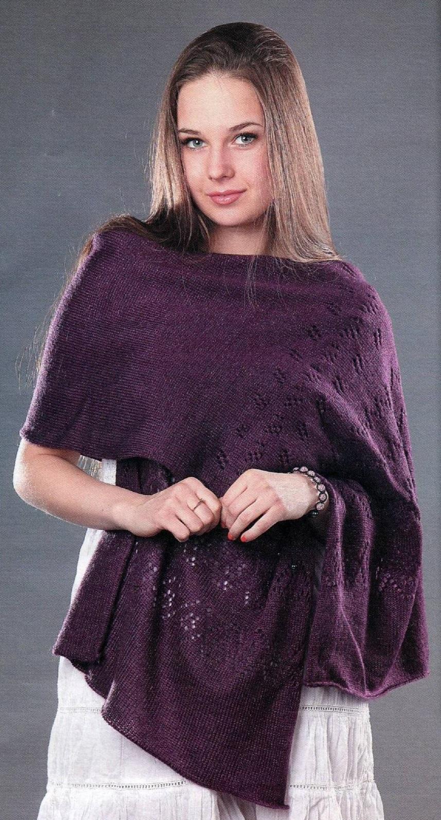 Фиолетовый палантин вязаный спицами