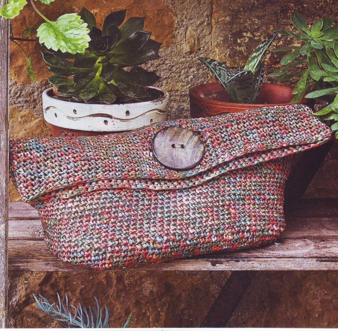 Меланжевая сумка вязаная крючком