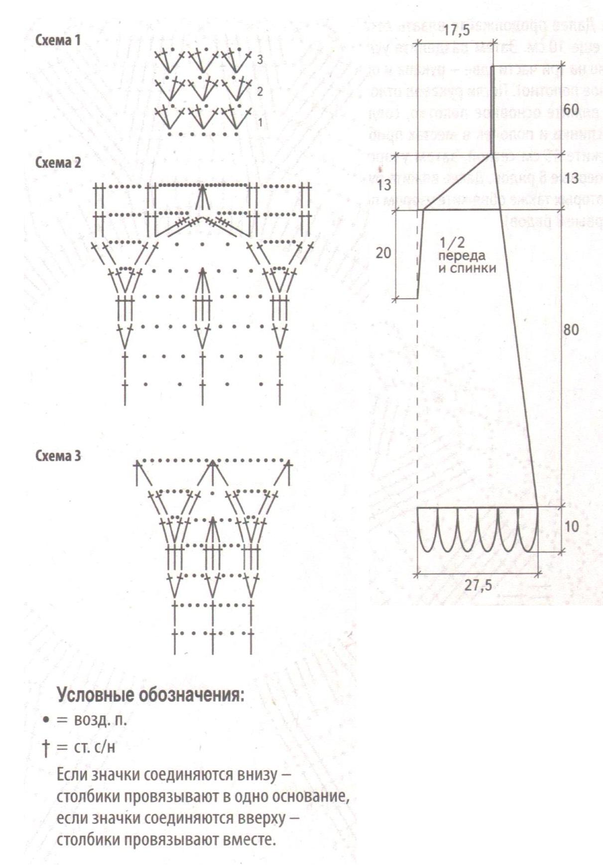 Голубое платье вязаное крючком схема