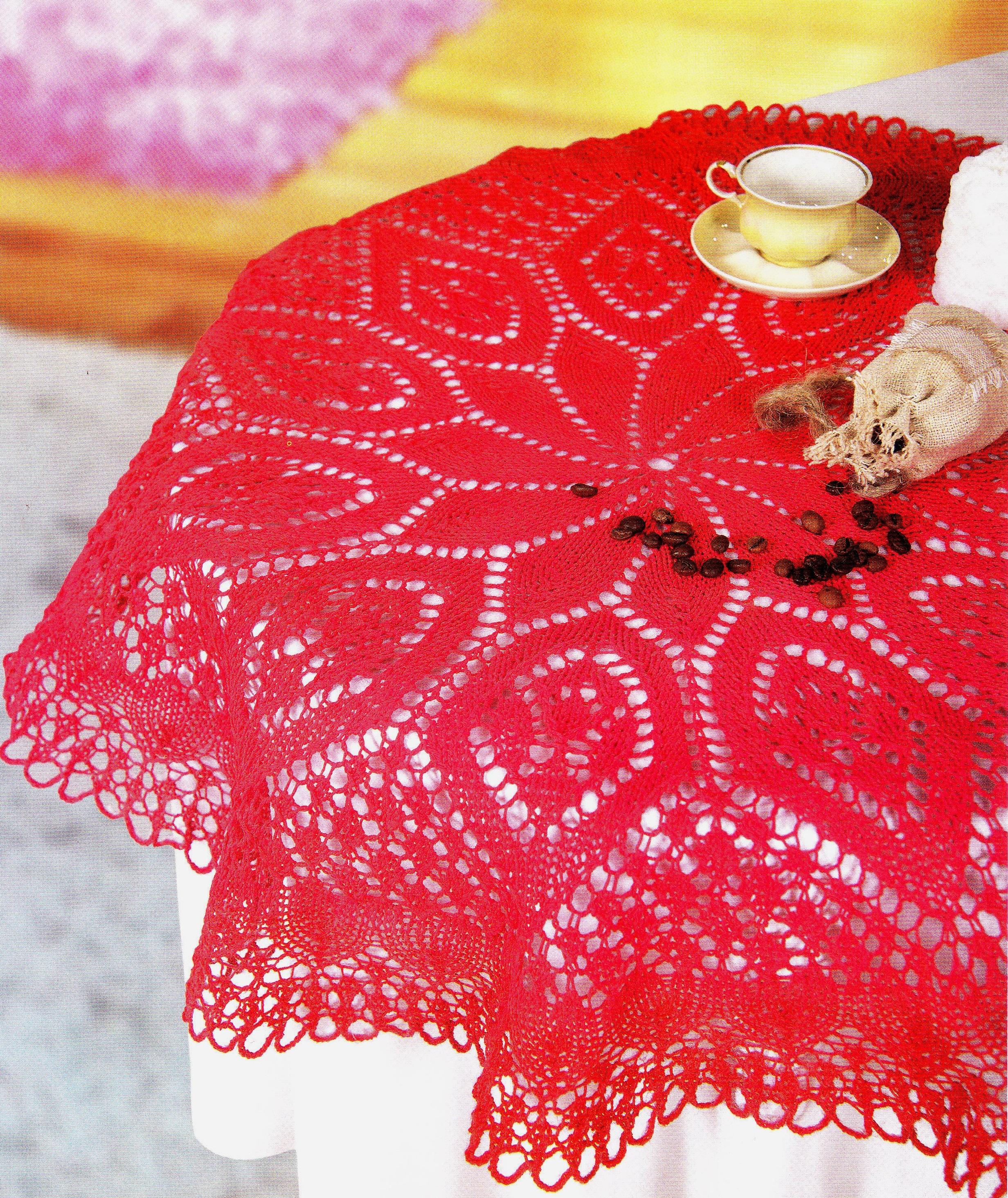 Красная скатерть вязаная спицами