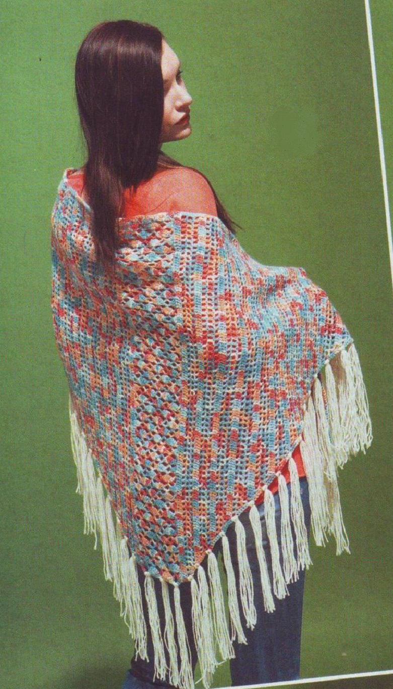 Меланжевая шаль с бахромой крючком