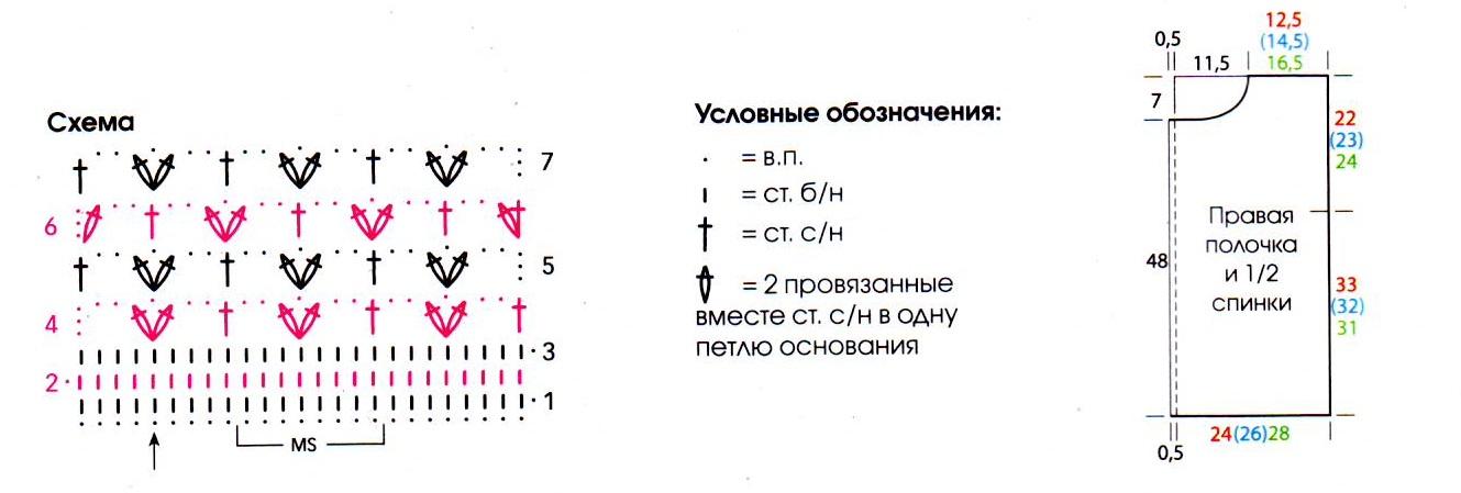 Меланжевый жакет вязаный крючком схема