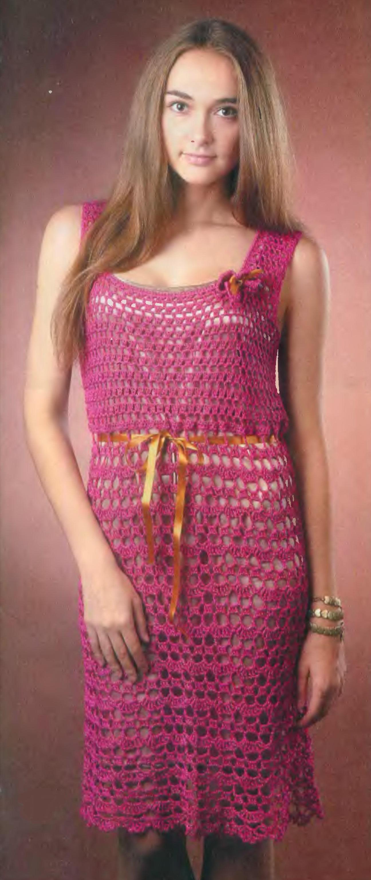 Платье цвета фуксии крючком